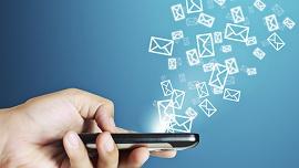 Imagem mostra mensagens saindo de um celular