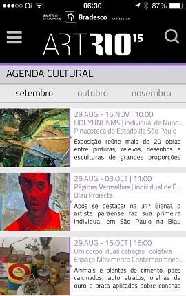 Tela da Agenda Cultural no App
