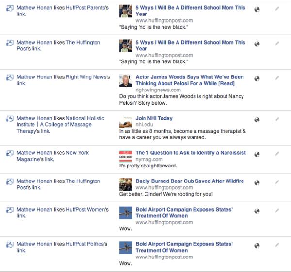 screen shot das atividades realizadas no facebook