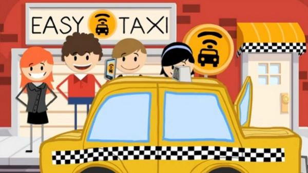 Ilustração de um táxi com passageiros felizes em volta