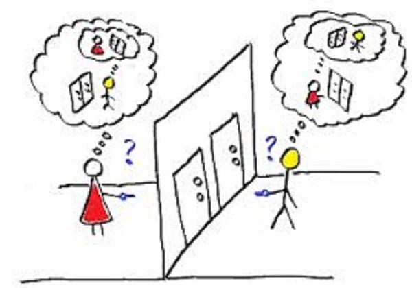 Desenho mostra um dilema sobre qual porta deve se abrir.