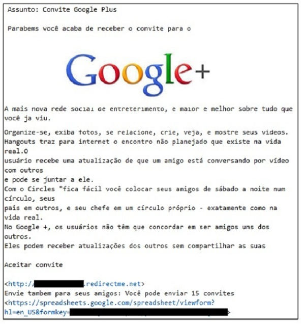 convite falso para o google plus