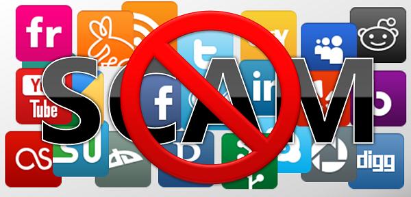 logos das mídias sociais com a palavra scam por cima