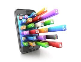 ícones de aplicativos saindo da tela do smartphone