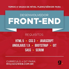 Anúncio para vaga de Desenvolvedor Front-End