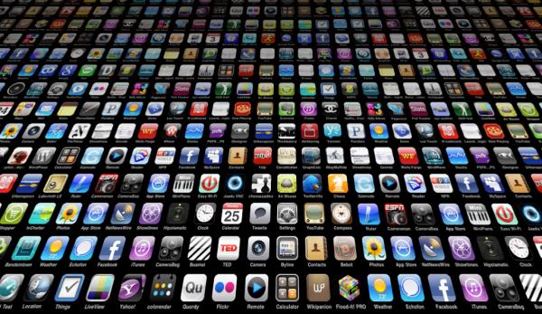 Dezenas de ícones de aplicativos de celular