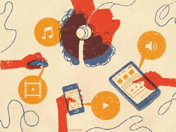 Ilustração de diversos tipos de streaming como músicas e filmes
