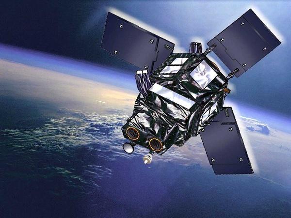 Foto de satélite em órbita