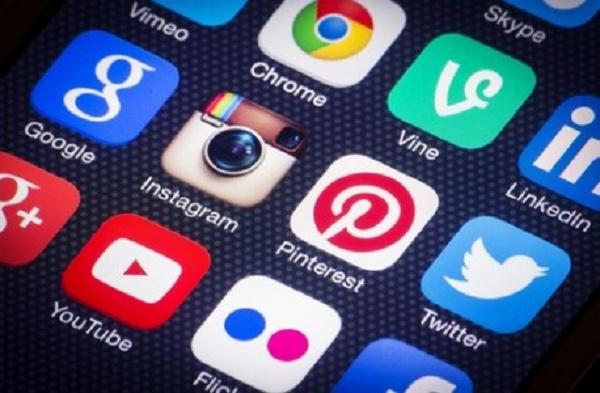 ícones de algumas mídias sociais