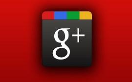Imagem com fundo vermelho e com o ícone do Google Plus no meio