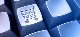 Teclado de computador com tecla com desenho de carrinhos de compras