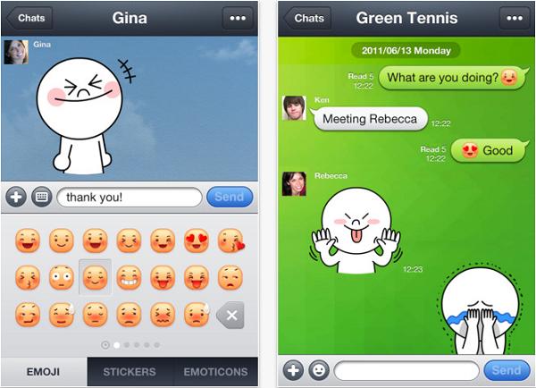 Imagem mostra telas do app Line no celular