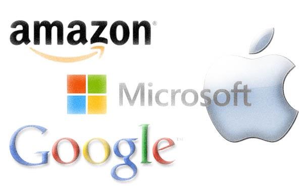 logo do Google, Amazon, Apple e Microsoft