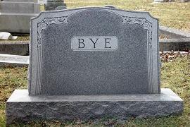 um túmulo escrito a palavra bye