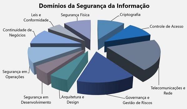 Grafico em pizza com domíinios da segurança da informação