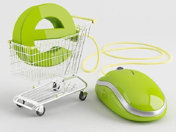 Mouse verde conectado a um carrinho de compras com a letra e dentro
