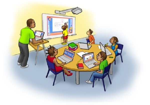 sala de aula com crianças no computador