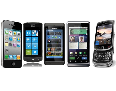 Cinco smartphones