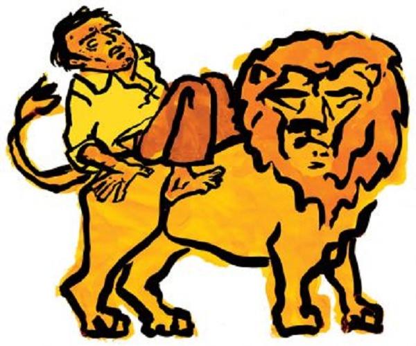 Um homem montado em um leão