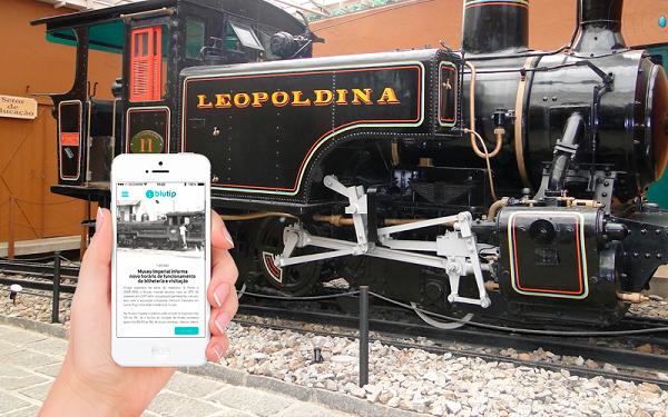 Ilustração do app blutip mostrando dados da Locomotiva em museu