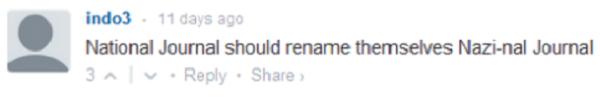 comentário maldoso de um usuário em um site