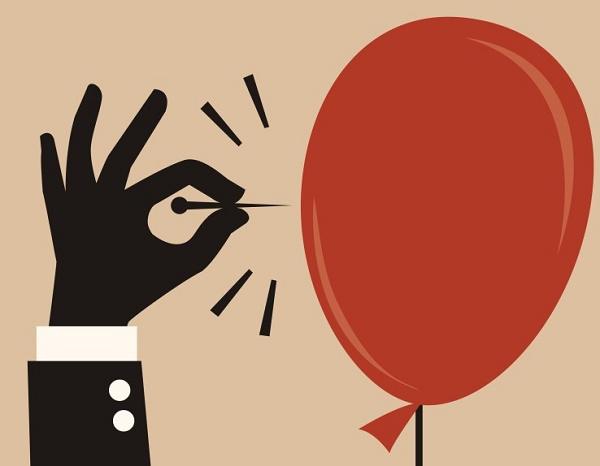 Ilustração de uma bola de gás sendo furada
