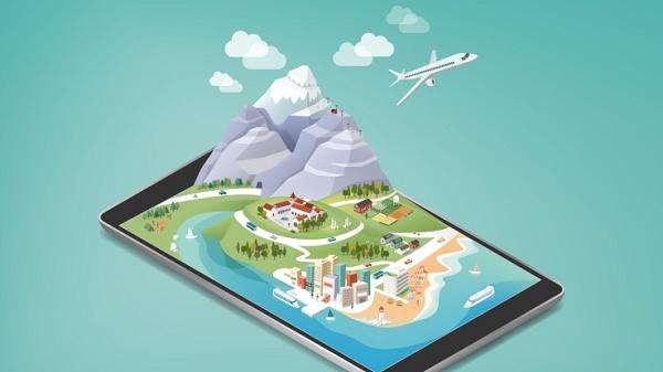 Ilustração de um smartphone com uma cidade na tela