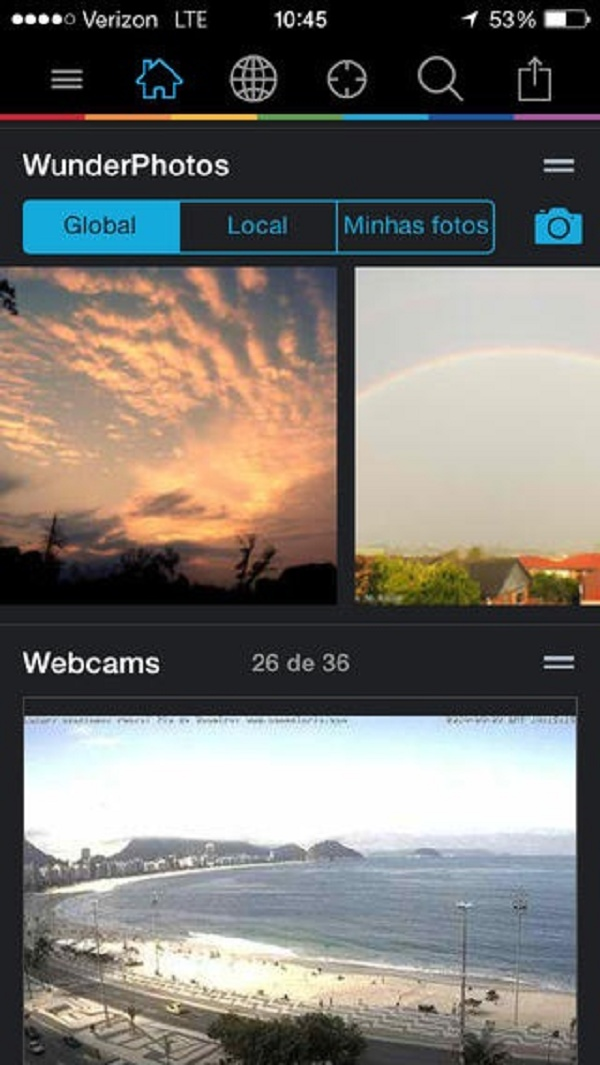 Imagem mostra fotos do clima compartilhadas pelos usuários