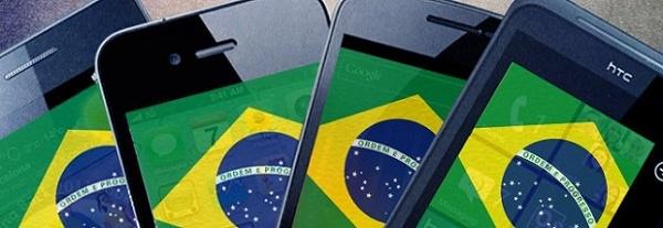 Smartphones com a bandeira do brasil como fundo de tela
