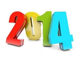 Ano de 2014 em números coloridos