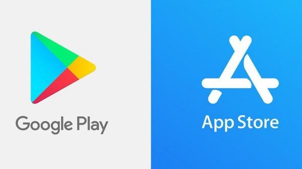 Logos das lojas da Apple e Google Play