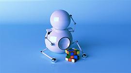 Robô branco tentando solucionar o cubo mágico