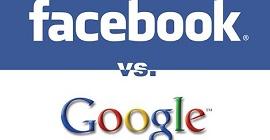 Ilustração do Facebook versus Google