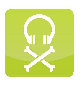 Ilustração de um headfone com um símbolo de pirataria