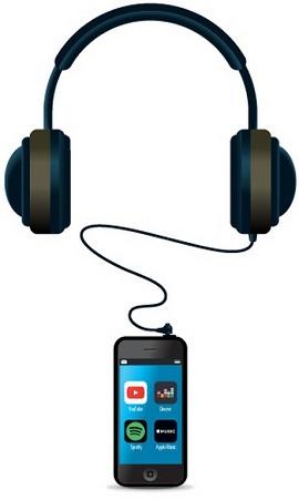 Fone de ouvido ligado a um smartphone