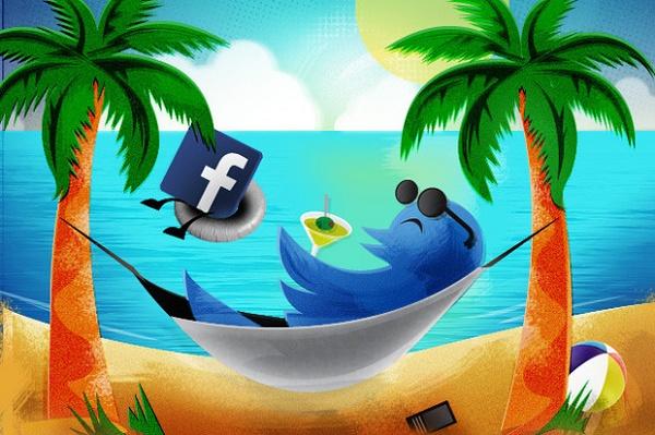 """Ilustração mostrando que Twitter e Facebook deixam você """"na boa"""""""