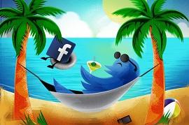 Ilustração mostrando que Twitter e Facebook deixam você