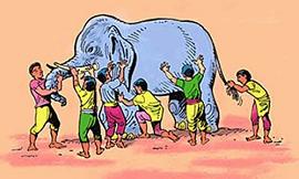 Imagem mostra elefante sendo acariciado por pessoas