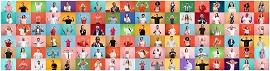 Imagem com vários rostos e fundos coloridos