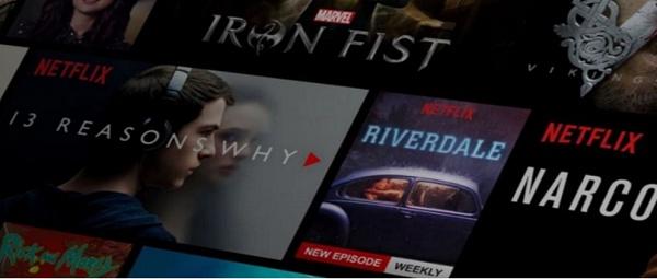 Tela com filmes da Netflix