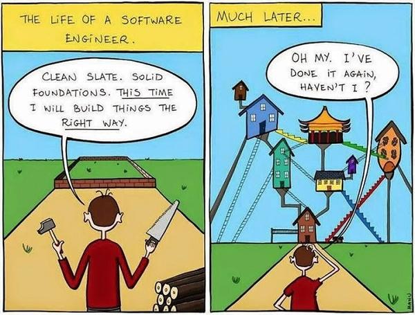 Quadrinho do engenheiro de software sem o arquiteto da solução