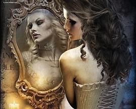Mulher bonita sendo refletida feia no espelho